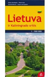 Lietuva ir Kaliningrado sritis. Kelių žemėlapis.