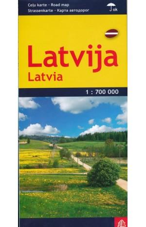 Latvija. Kelių žemėlapis. M 1:700 000 (laminuotas)